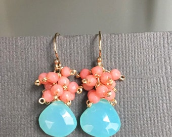 Cluster earrings,  Aqua Blue Chalcedony clustered with coral, Orange bule earrings, Hand wired wrapped Jewelry, Wedding jewelry, muse411