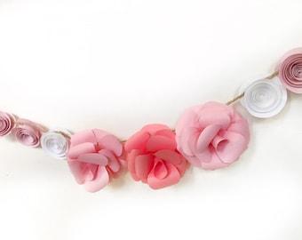 White and pink paper flower garland, bright paper flowers, bright weddinng garland