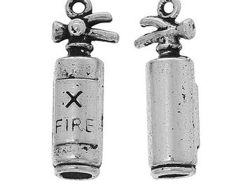 10 Pieces Antique Silver Fire Extinguisher Charms