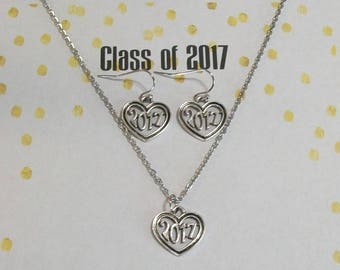 Pretty 2017 Graduation Heart Necklace and Earrings Set