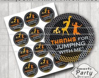 """Jump Trampoline Bounce House Thank You Party Tags Stickers Printable 2.5"""" Circles PDF - Instant Download"""