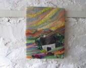 textile art, felt painting, cottage picture