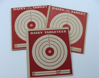 Set of Three Different Vintage Daisy Air Rifle Target with Ads on the Back