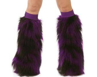 Furry Leg Warmers - Purple Black Fuzzy Boot Covers - Rave Fluffies - TrYptiX Camo Long Pile Faux Fur Boot Covers -