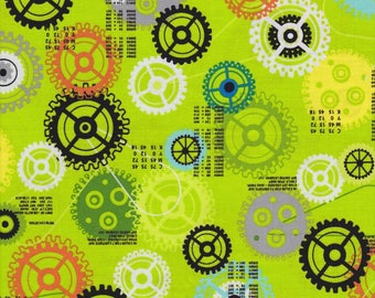 Red Rooster Fabric, iBot, Multi-color Gears on Lime Green, 100% cotton