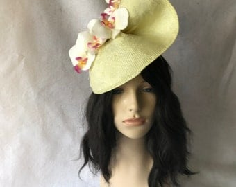 Yellow Kentucky Derby orchid fascinator hat, yellow derby hat for Races, Melbourne cup, The Royal Ascot, yellow wedding FascinatorHeadband