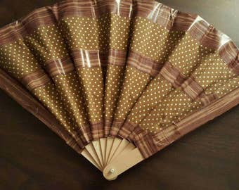 Polka Dots and Pin Dots Vintage Style Folding Duck Tape Fabric Hand Fan