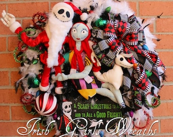 Sandy Claws Wreath, Deluxe Nightmare Before Christmas Wreath, Jack Skellington Wreath, Jack Sally Zero,  NBXmas Wreath, READY To SHIP