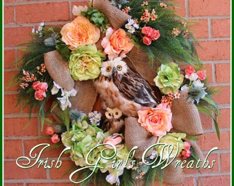 MADE TO ORDER Spring Floral Momma and Baby Owl Wreath - Mother's Day Owl Wreath, Summer owl Family, Owl Decor - Other Colors Available