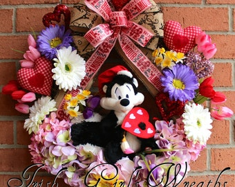 Pepe Le Pew Wreath, Artiste of Love Valentines Wreath, Gerbera Daisy, Hydrangea, Lavender and Pink, Spring Wreath, Tulip, door hanging
