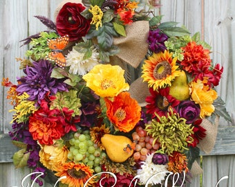 Large Rustic Tuscan Elegance Wreath, French Country Wreath, Poppy & Sunflower Wreath, Everyday Wreath, Fall Wreath, Thanksgiving Floral