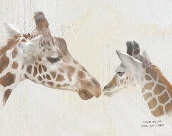 giraffe print, nursery print, animal print, mother and son, Iain S Byrne, wildlife print, nature print, wildlife photography, animal art