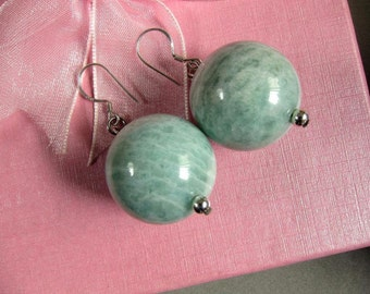 Earrings African Amazonite 20mm Round Beads 925 ESAZ2254