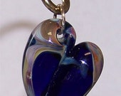Sassy Silks Lampwork Heart Pendant/Hand Made/Boro LampworkBead/Glass Charm/Jewelry Supplies/CopperFinding/Sterling Silver/