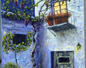 Oil Painting, Fine Art, Original Oil Painting, Moon Light on Villa, Super Moon