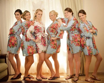 Bridesmaids Robe Set of 2,3,4,5,6,7,8,9,10,11,12 Floral Robe Bridal Shower Gift For Bride and Bridesmaids Cotton Robes