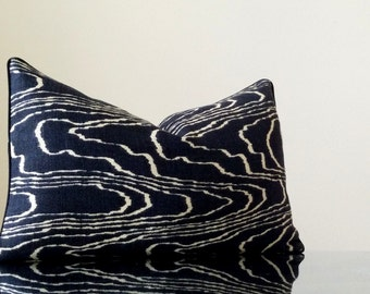 Kelly Wearstler Agate pillow lumbar pillow cover in Ebony - with black trim detail - Designer: Kelly Wearstler for Groundworks/Lee Jofa