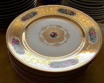 Sale this week for medical expense FRENCH ANTIQUE PLATES Twelve French Sevres Pattern Ornate Dinner Plates, Chateau de Trianon