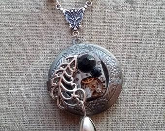 The black Tulip steampunk pendant necklace