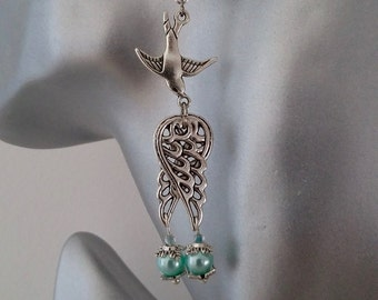Retro style bird earrings
