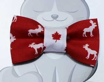 Canadiana Bow Tie for Cat or Dog, Pet Clothing, Slide on Collar Accessory, Pet Bowtie, Handmade in Canada, Maple Leaf, Moose, Red, White