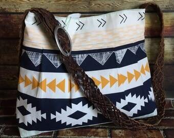 SALE Aztec Pleated Hobo W/ Cross Body Strap