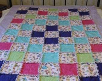 "Girl Stuff pretty in pink flannel raggy quilt 50.5x73"""