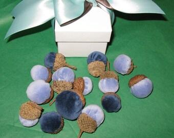 Velvet Acorns Topped With Real Acorn Caps, Velvet Acorn Bowl Filler Fall Decor Acorns