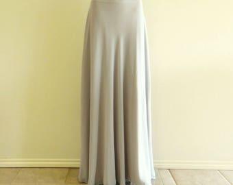 Light Grey Bridesmaid Skirt. Chiffon Floor Length Skirt. Light Grey Maxi Skirt. Long Evening Skirt.