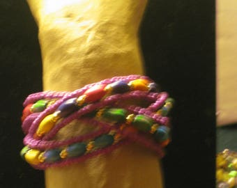 Burgundy ad Multicolored Beaded Wired Bracelet, 1.5 Inches Wide