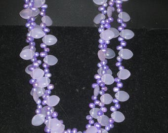 Soft Purple and Lavender Necklace, 3 Strands, Pearls and Lemon-shaped Beads, 18.5 Inches