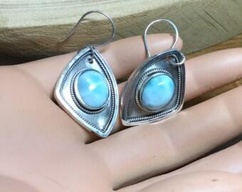 Large Larimar Earrings