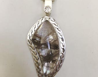 Rutilated Quartz on Mother of Pearl Pendant