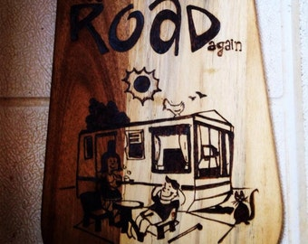 On the Road Again Pyrography Antipasto Board