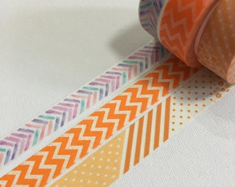 Clearance Sale 3 Rolls of  Washi Masking Tape: Simple and Basic Patterns