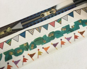 1 Roll of Limited Edition Washi Tape : Zippers, Fun Garland, Wide Leaf, or Flag