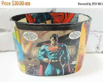 ON SALE Batman V Superman Desk Basket. Comic Book Decoupage. Office Decor. Geeky and Ready to Ship Next Day. Capes Sold Separately.