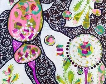 GARDEN PARTY Original mixed media acrylic painting canvas colorful floral art mandala wall art