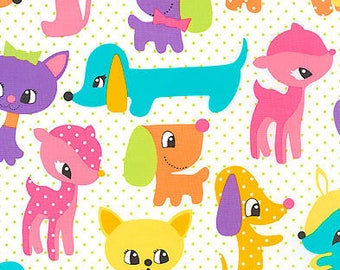 Michael Miller Plush Puppy Cotton Fabric - Hard to find - Cotton Quilting Fabric Sold by HALF YARD - Continuous Cuts Available - Smoke Free!