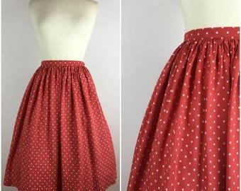 "Vintage 1950s Skirt - 50s Red Polka Dot Circle Skirt - Cotton Sateen Swing Skirt - UK6 / US2 / EU34 Small XS W25""-"