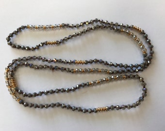 "Beaded necklace, around 36"", about 4mm thick, 1 pc, grey/smoky"