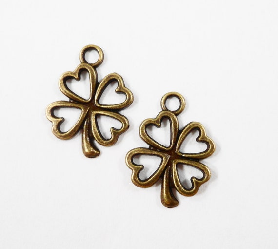 Bronze Four Leaf Clover Charms 16x12mm Antique Brass Clover Pendants, Bronze Shamrock Charms, St. Patrick's Day Charms, Metal Charms, 10pcs