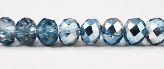 """Blue Crystal Rondelle Beads 6x4mm Half Light Blue Half Metallic Crystal Beads, Chinese Crystal Glass Beads on an 8 1/2"""" Strand with 50 Beads"""