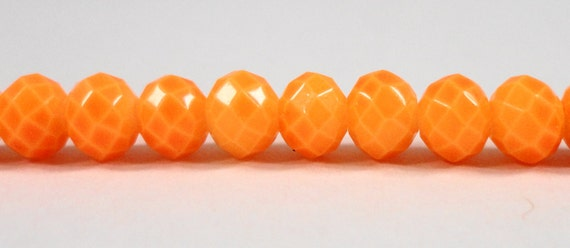 "Opaque Orange Crystal Beads 6x4mm (4x6mm) Painted Crystal Rondelle Beads, Faceted Chinese Crystal Glass Beads on a 9"" Strand with 50 Beads"