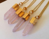 angel aura Rose quartz necklace, raw crystal, mystic crystal, healing crystals, ab coated crystal