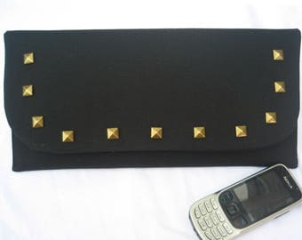 Studded black clutch bag. Evening bag. Clutch purse