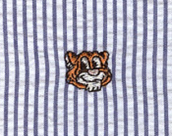 High Quality Embroidered Seersucker Fabric–  Tiger On Navy