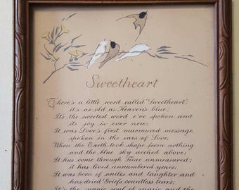 Vintage P.F. Volland Motto Sweetheart Poem with Sparrow Motif