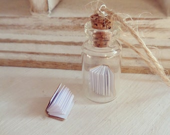 Tiny book in a bottle Christmas tree decoration - hanging ornament - free UK delivery - book lover gift - tiny charm