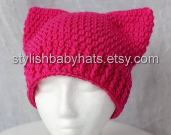 Pussyhat, ADULT SIZE, Pink Pussyhat Project, Pink Cat Hat, Crochet Hat, photo prop, Inspired by Pussyhat Project